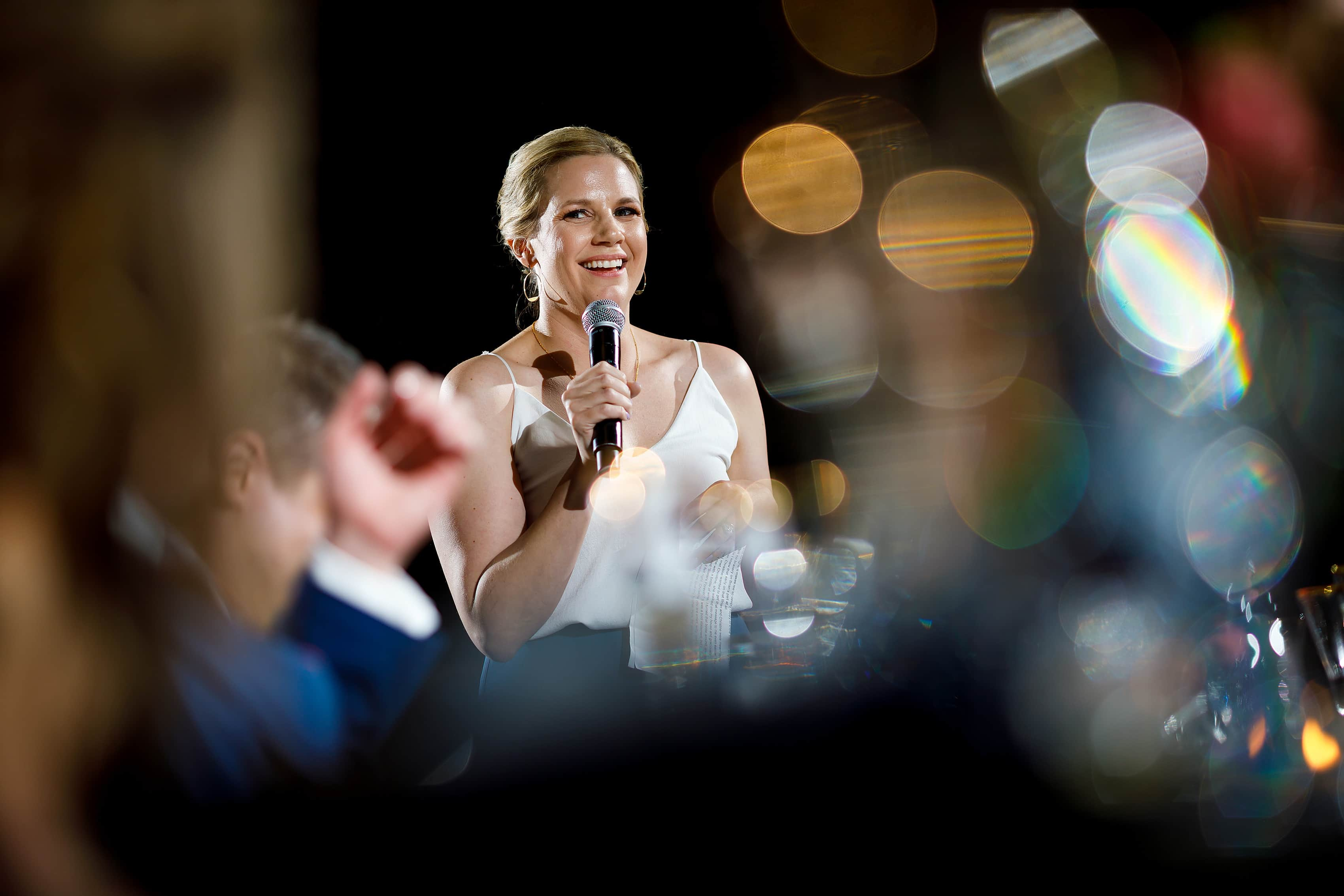 groomswoman toast during wedding reception at Harold Washington Library