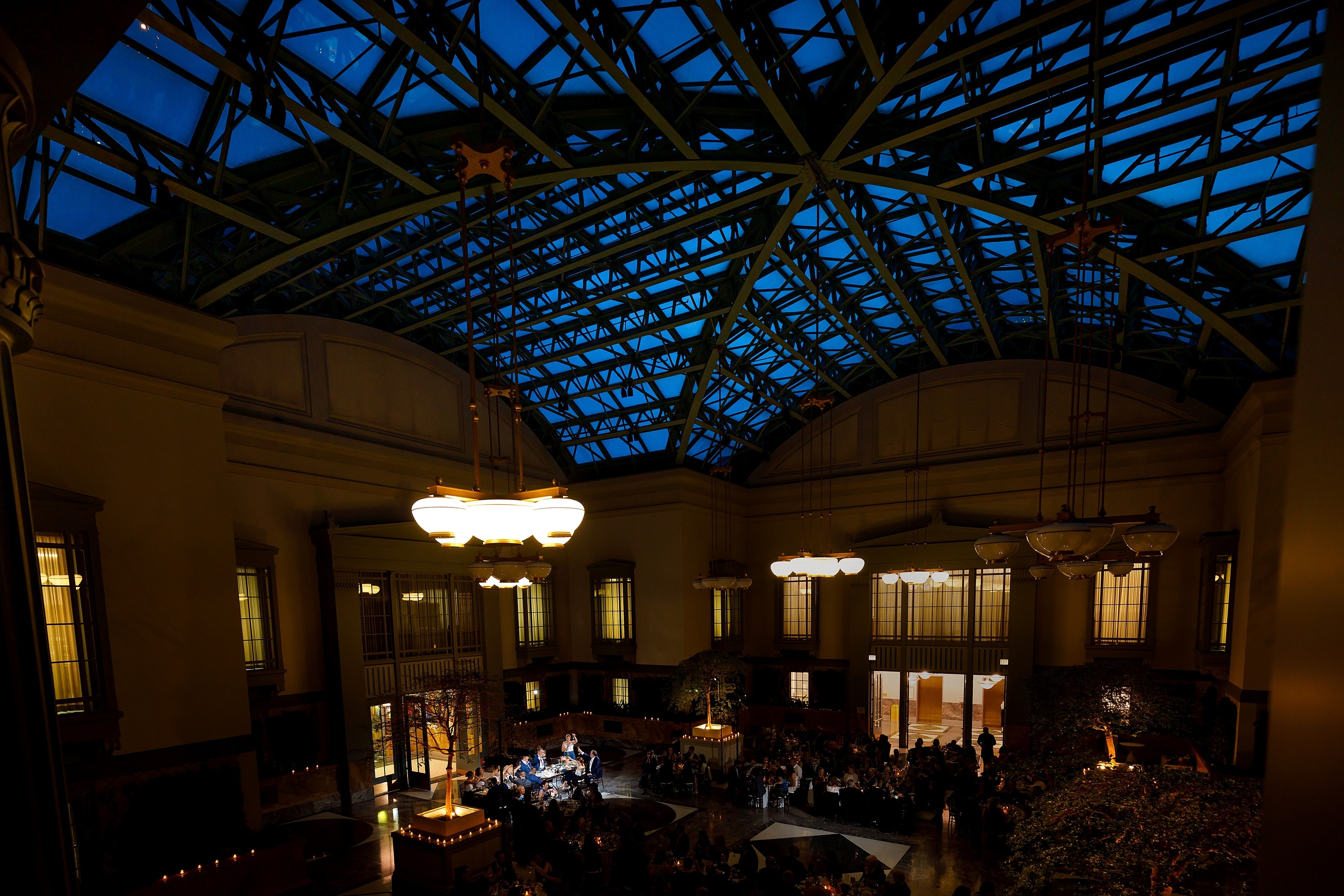 wide angle view of Harold Washington Library during wedding reception