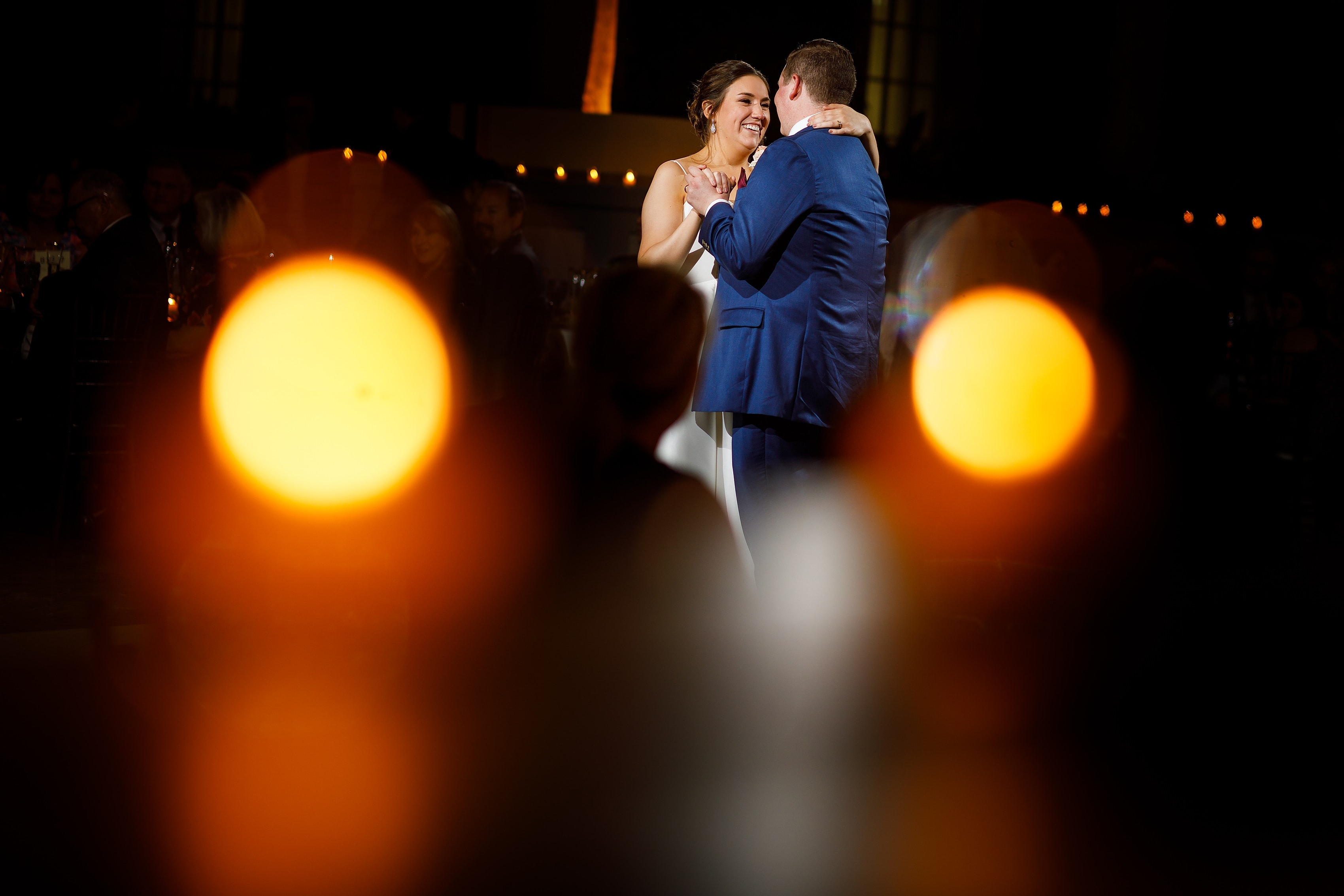 Bride and groom first dance during wedding reception at Harold Washington Library