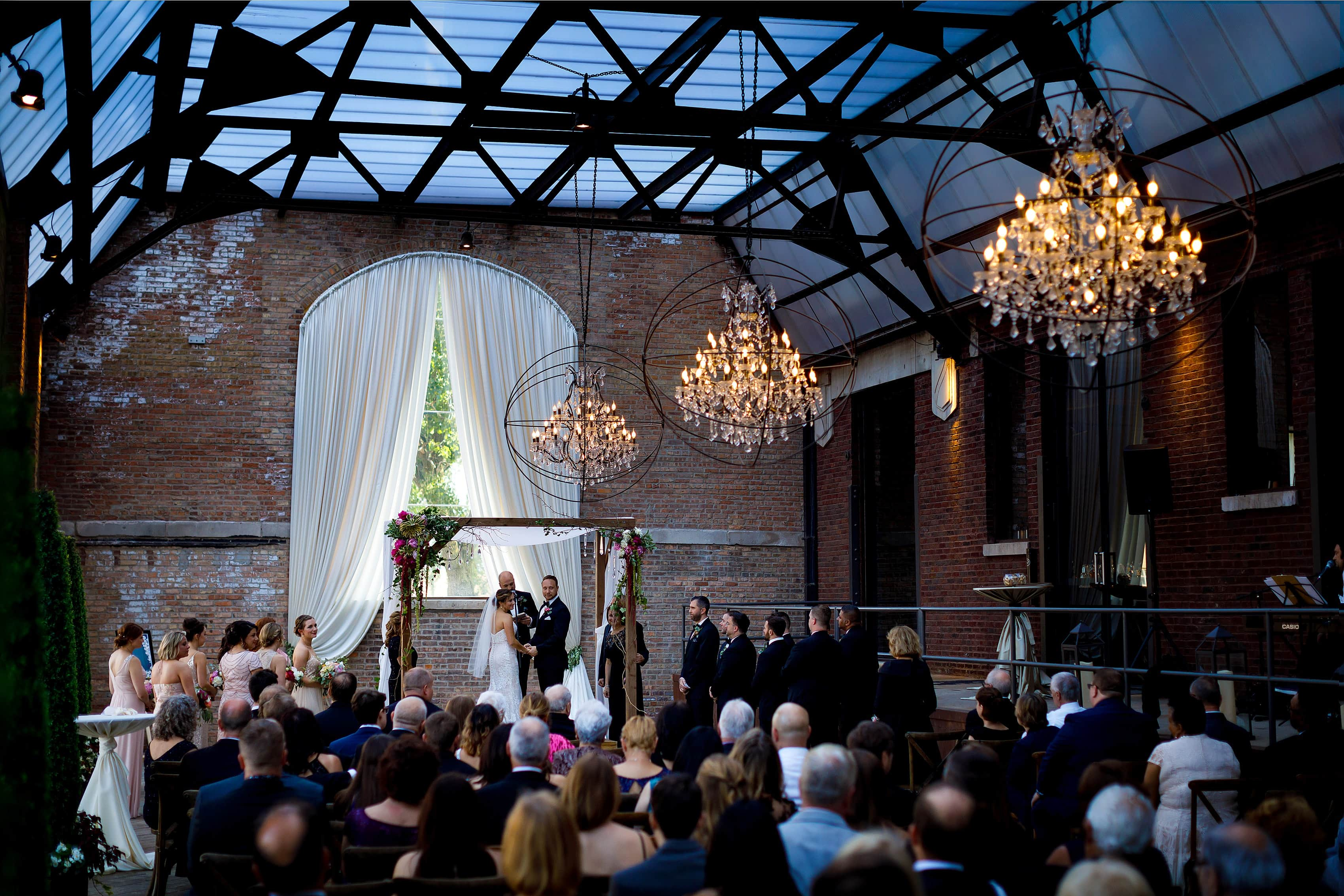 wedding ceremony at Bridgeport Art Center Sculpture Garden in Chicago