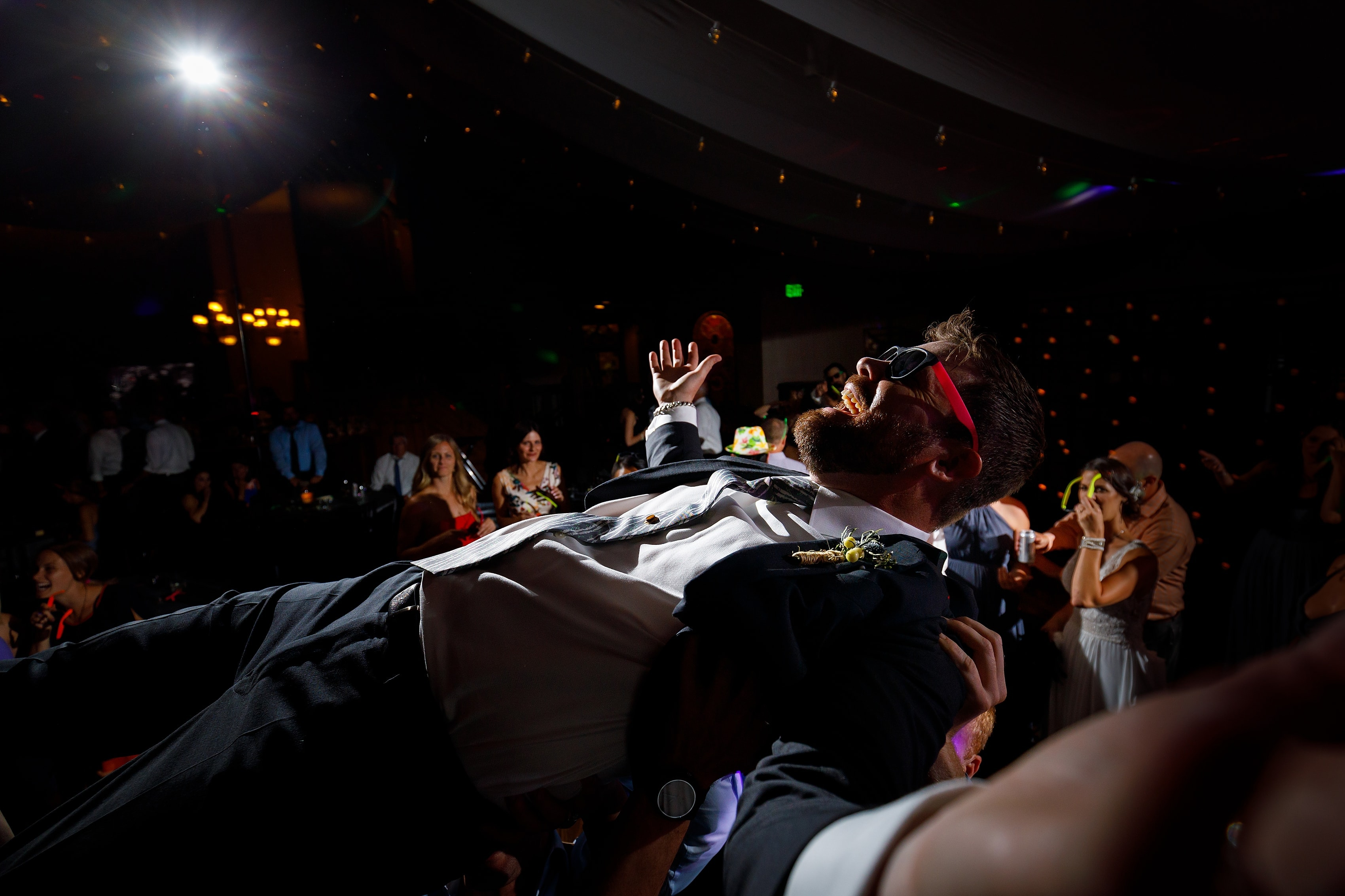 wedding guests dance during wedding reception at Lionsgate Event Center