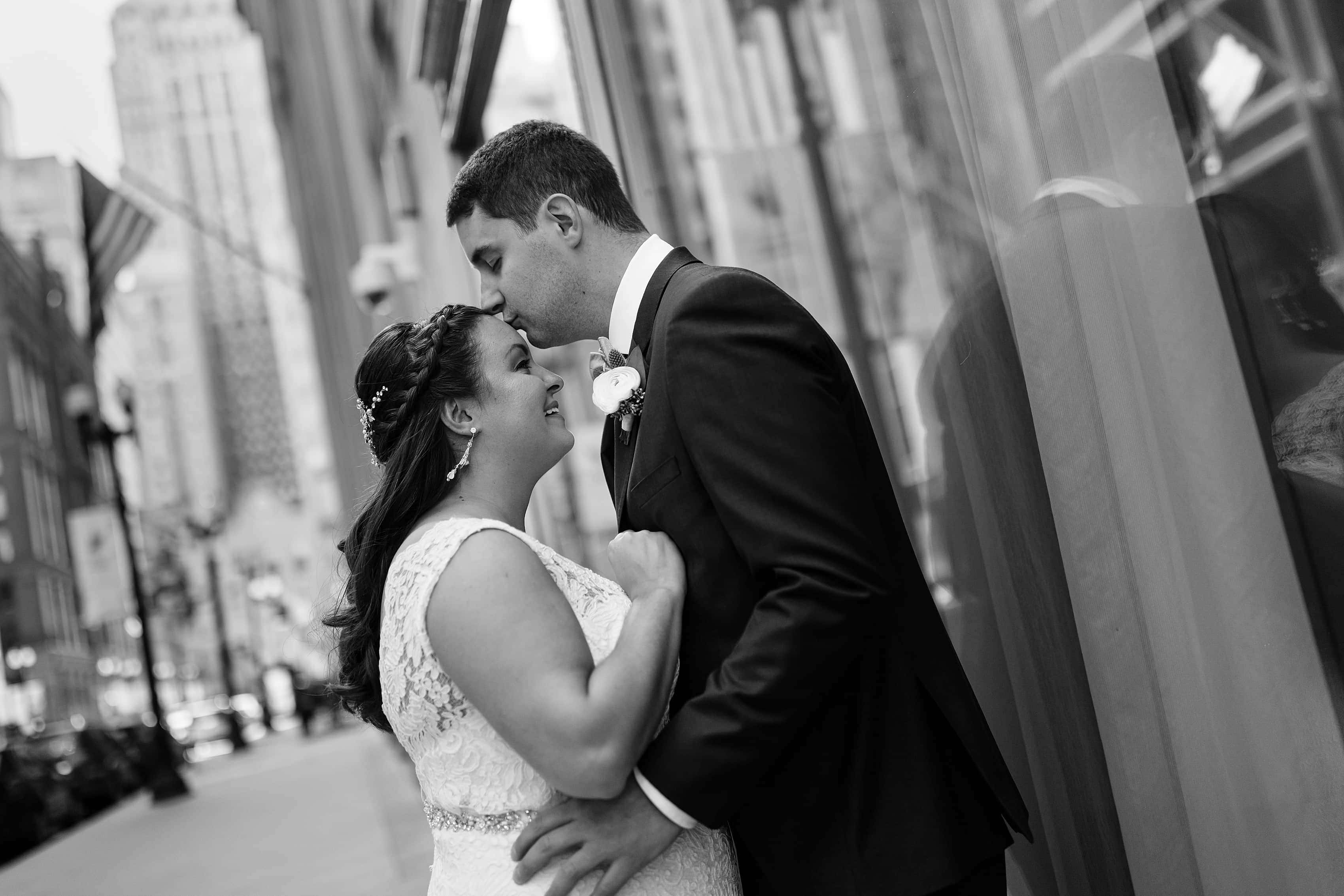 bride and groom portrait on LaSalle street in downtown Chicago