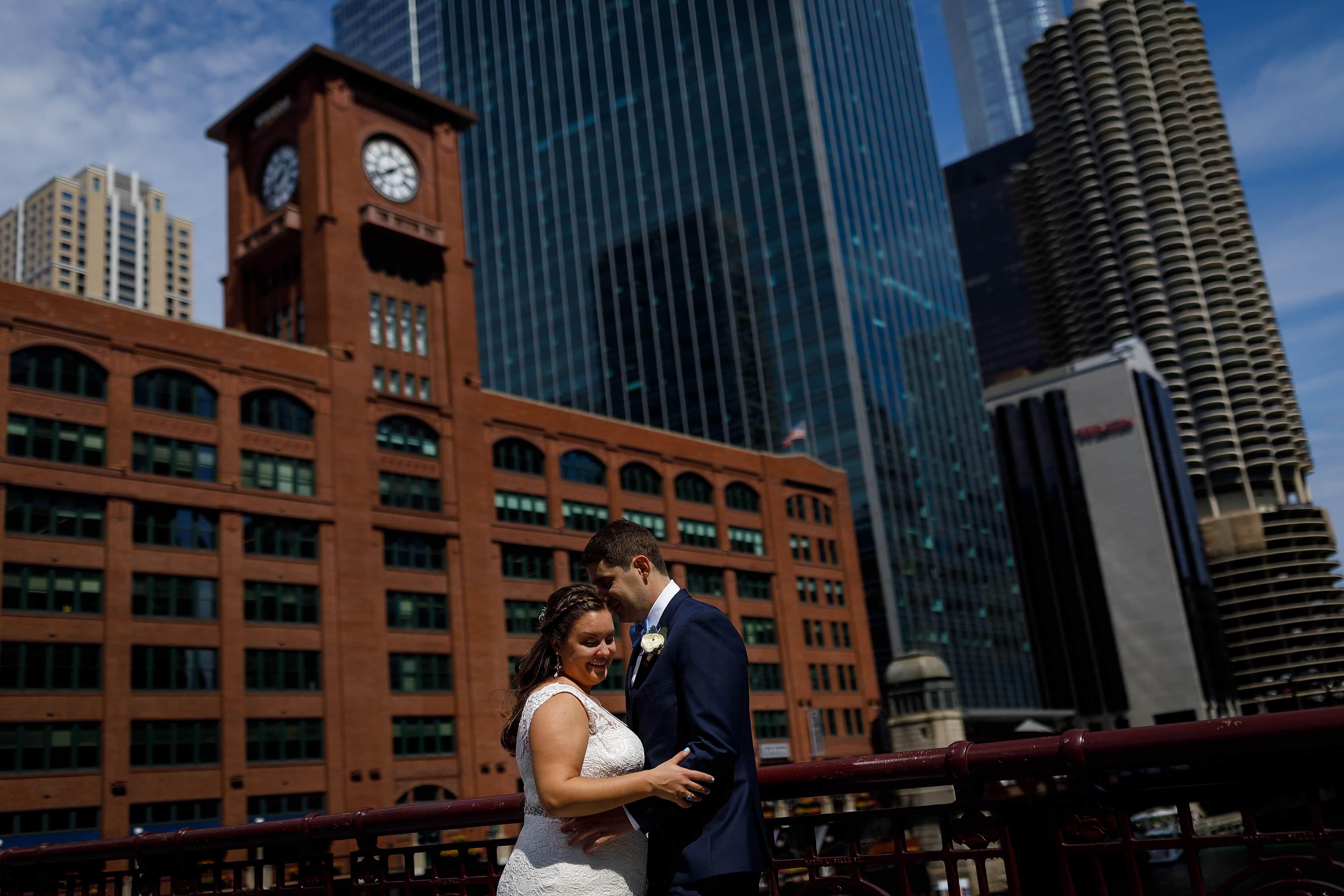 bride and groom wedding portrait on LaSalle Street Bridge