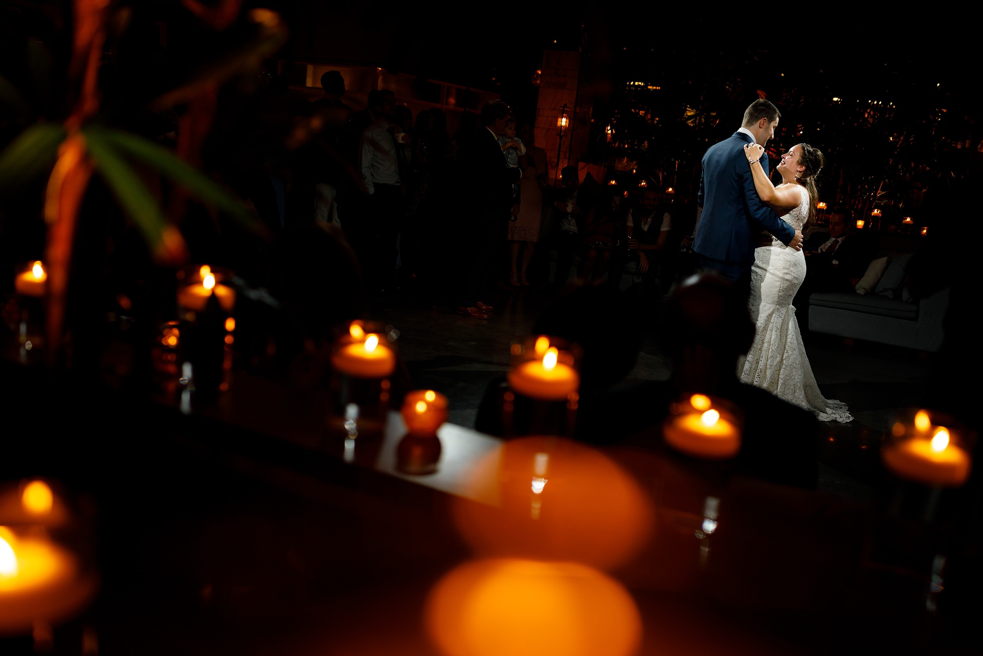 first dance during wedding reception at Boleo rooftop bar at Kimpton Gray Hotel in downtown Chicago