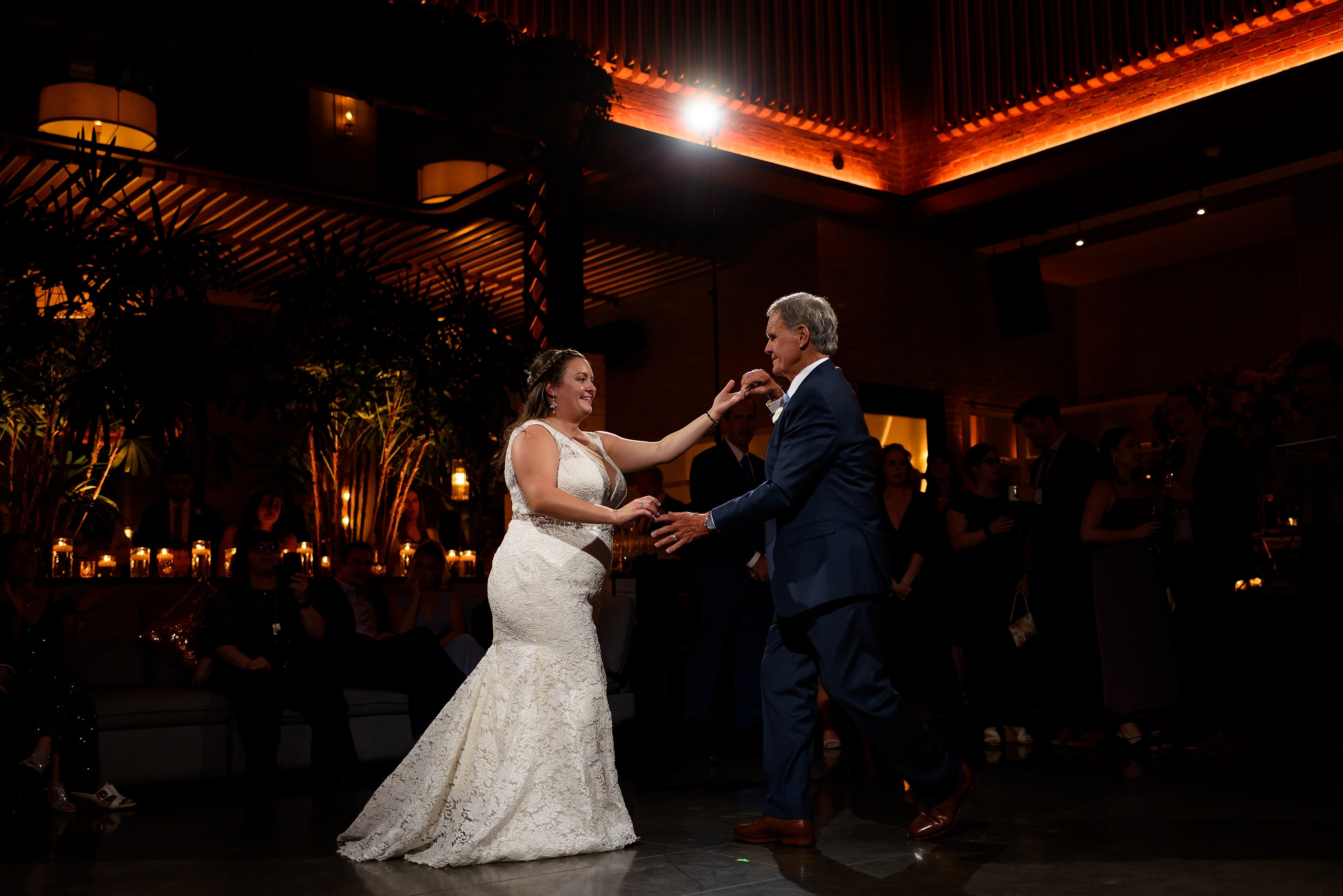 dance during wedding reception at Boleo rooftop bar at Kimpton Gray Hotel in downtown Chicago