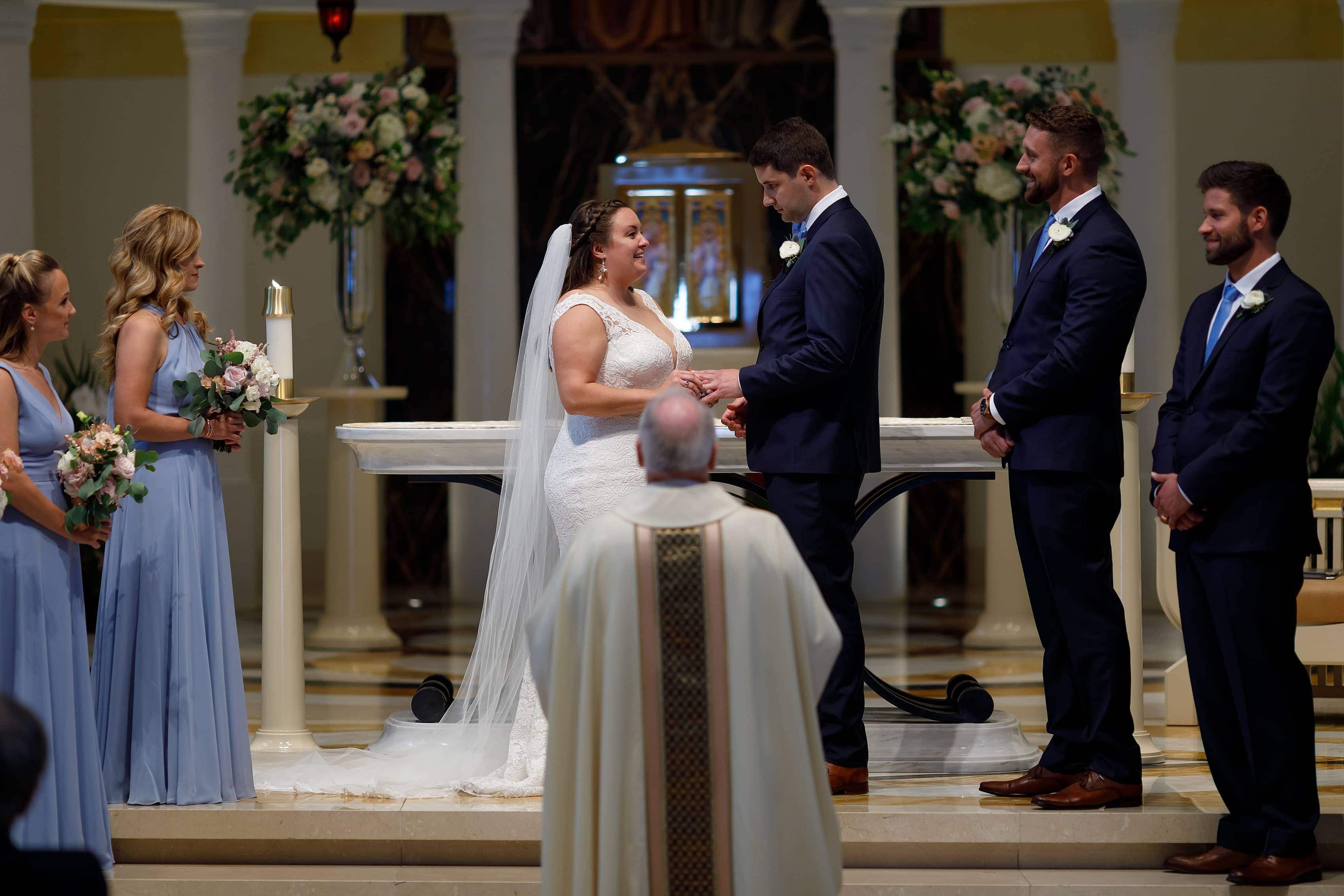 wedding ceremony at Madonna Della Strada Chapel on Loyola University campus