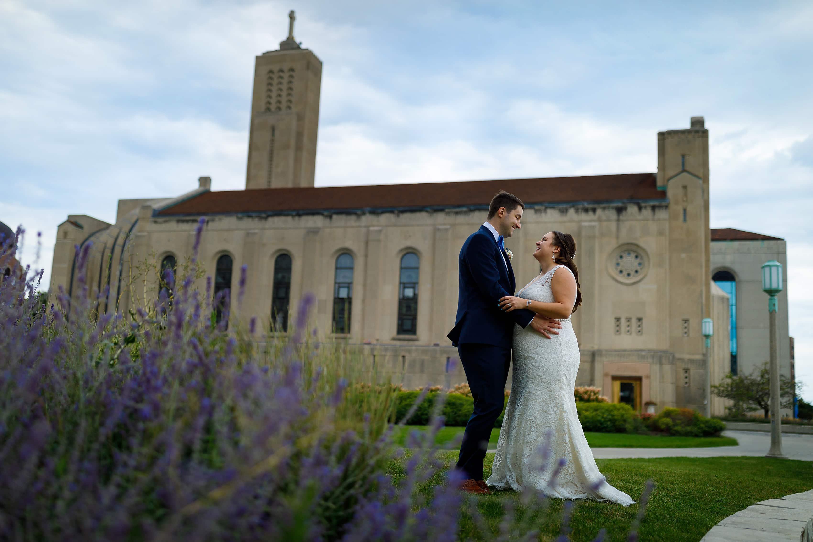 wedding portrait with bride and groom at Madonna Della Strada Chapel on Loyola University campus