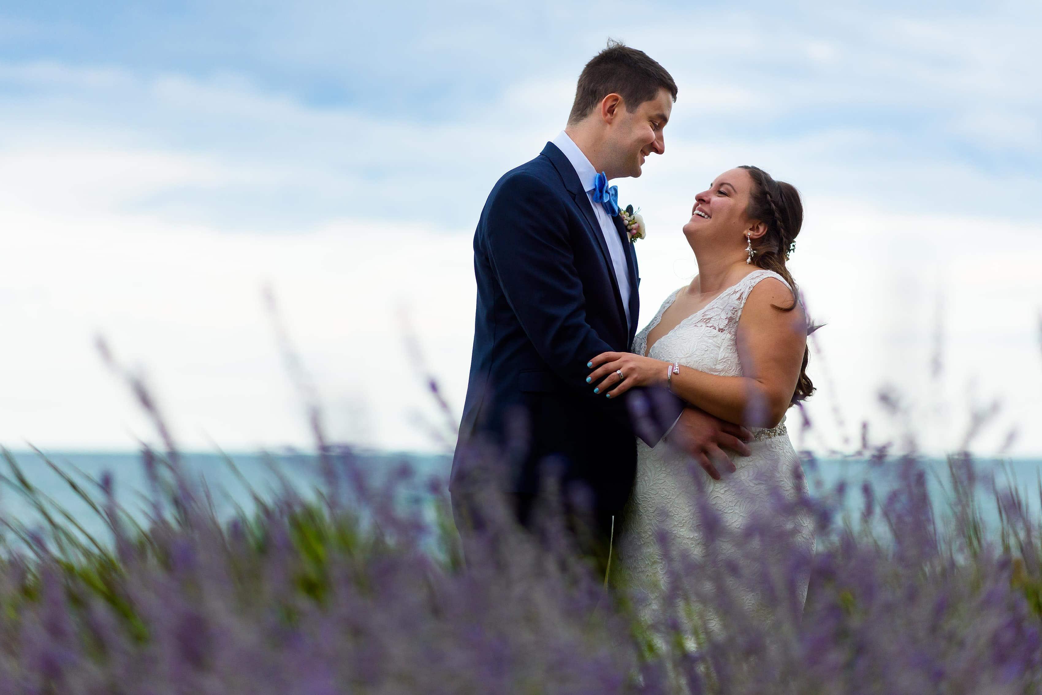 wedding portrait with bride and groom on Loyola University campus