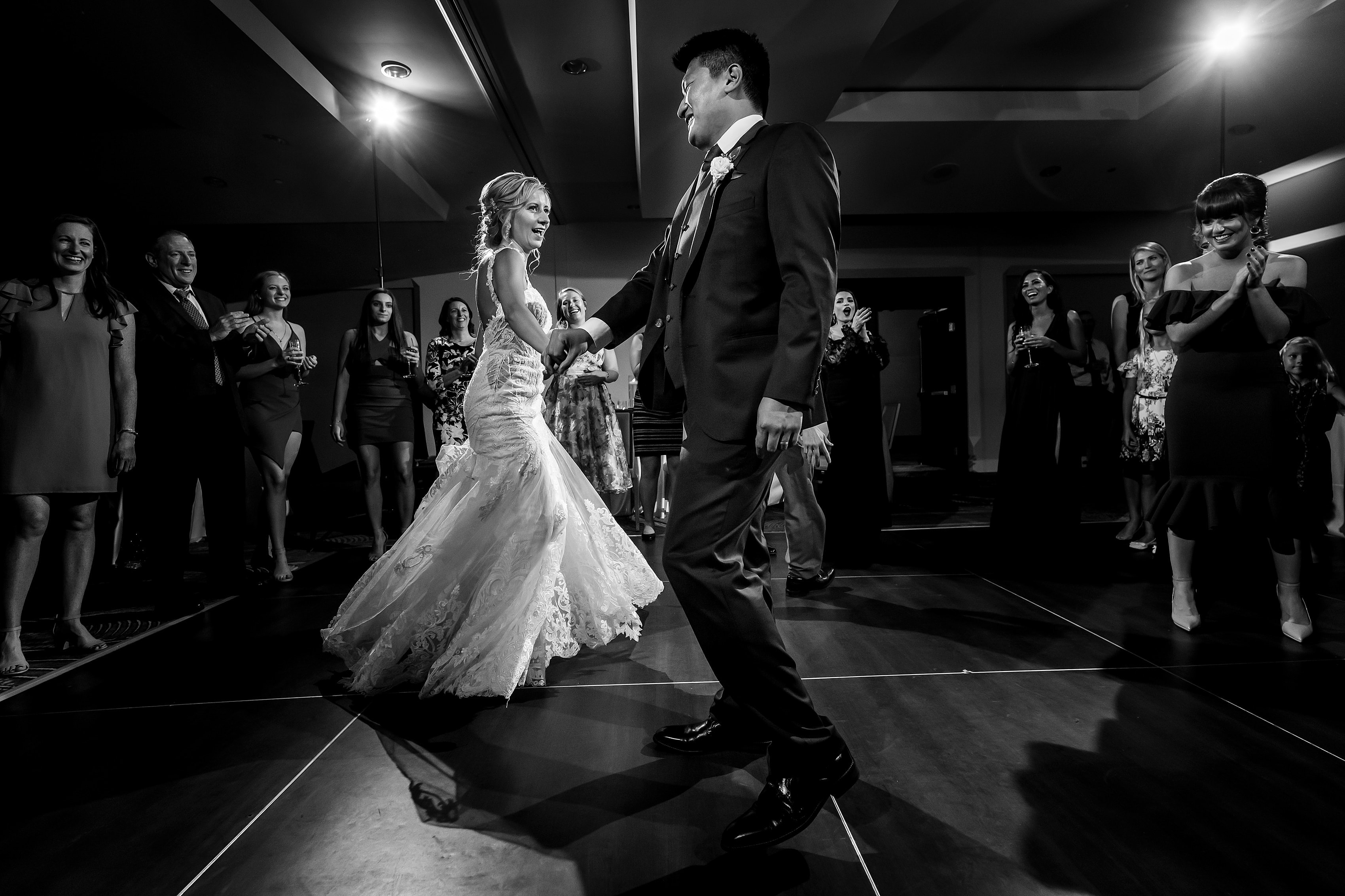 bride and groom dance during wedding reception The Gwen Hotel in downtown Chicago