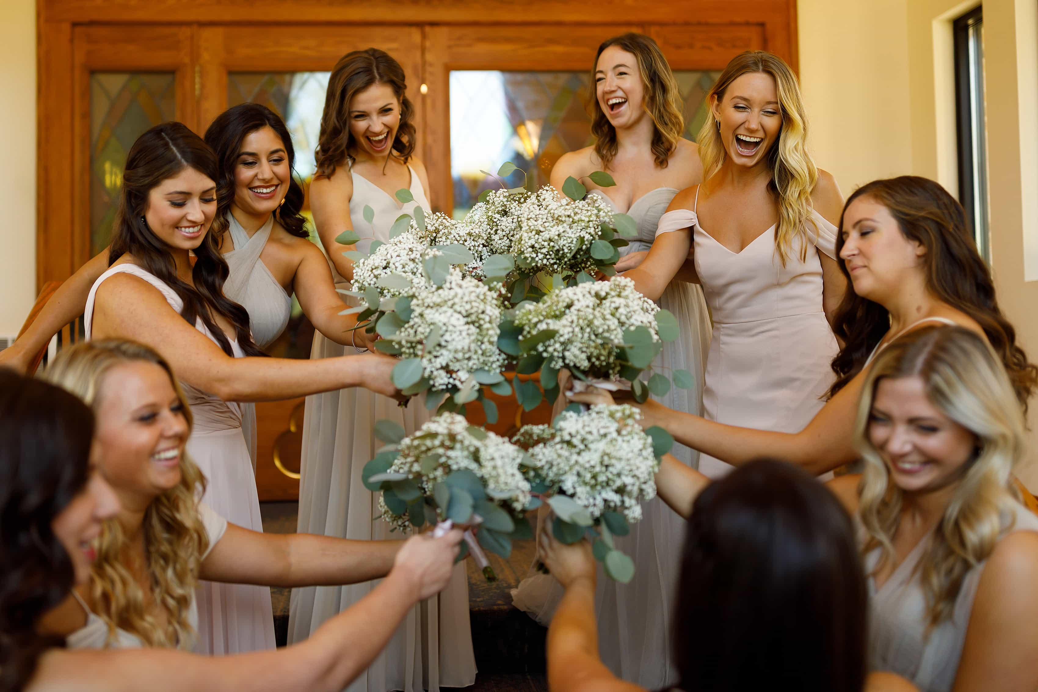 Bridesmaids get ready for ceremony