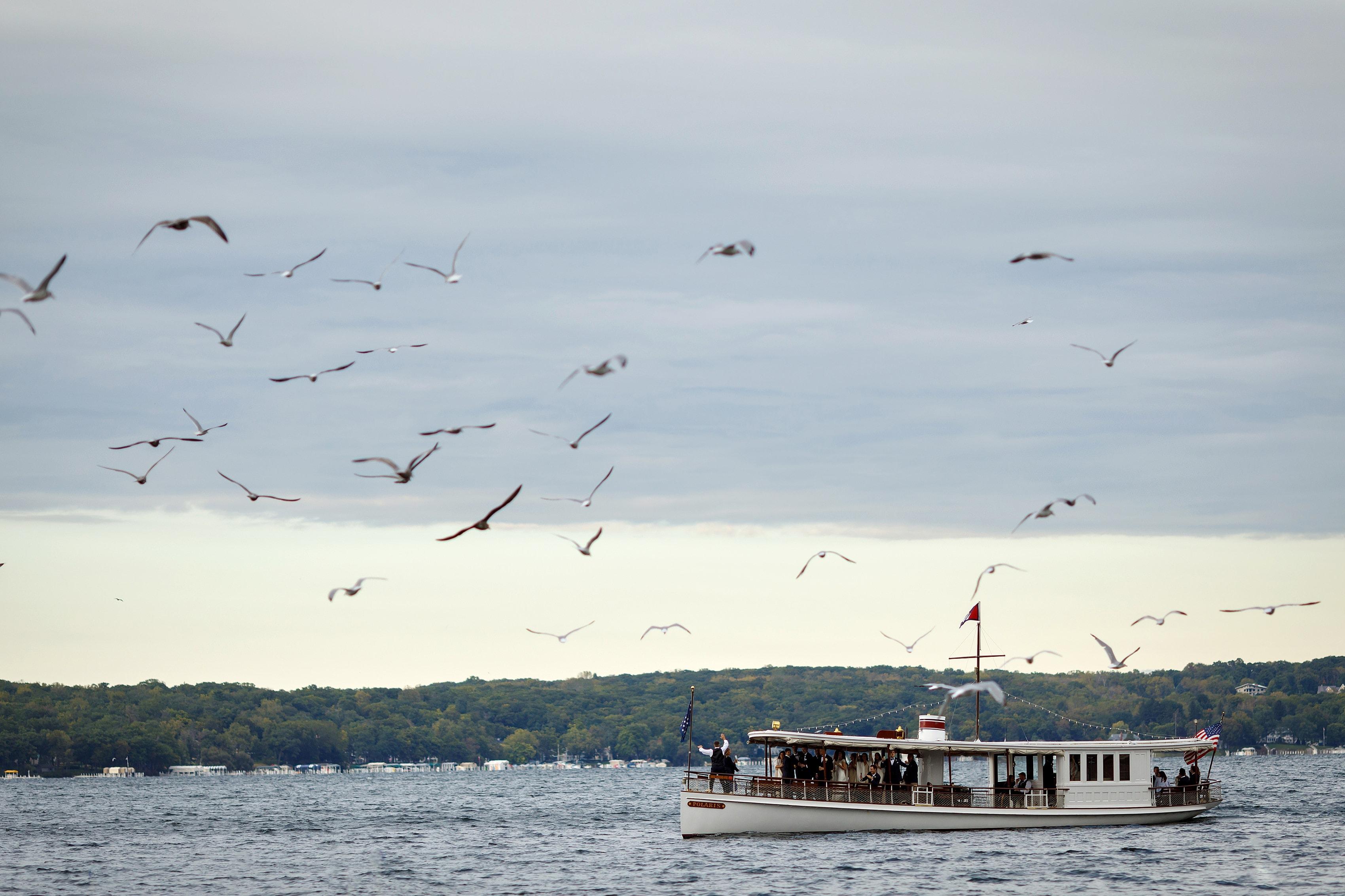 A boat at Lake Geneva Yacht Club in Lake Geneva, Wisconsin