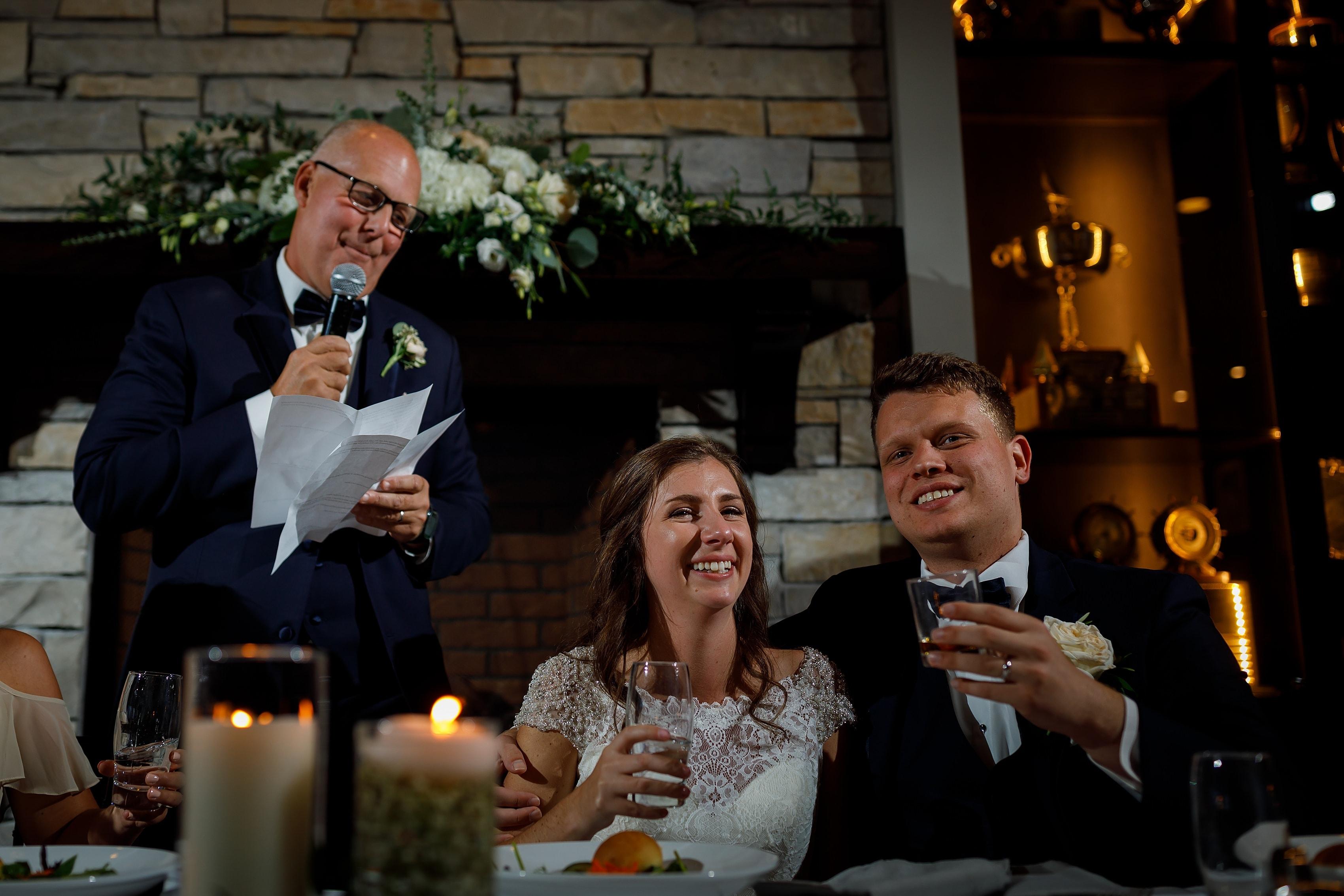 Father of the bride toast at Lake Geneva Yacht Club in Lake Geneva, Wisconsin