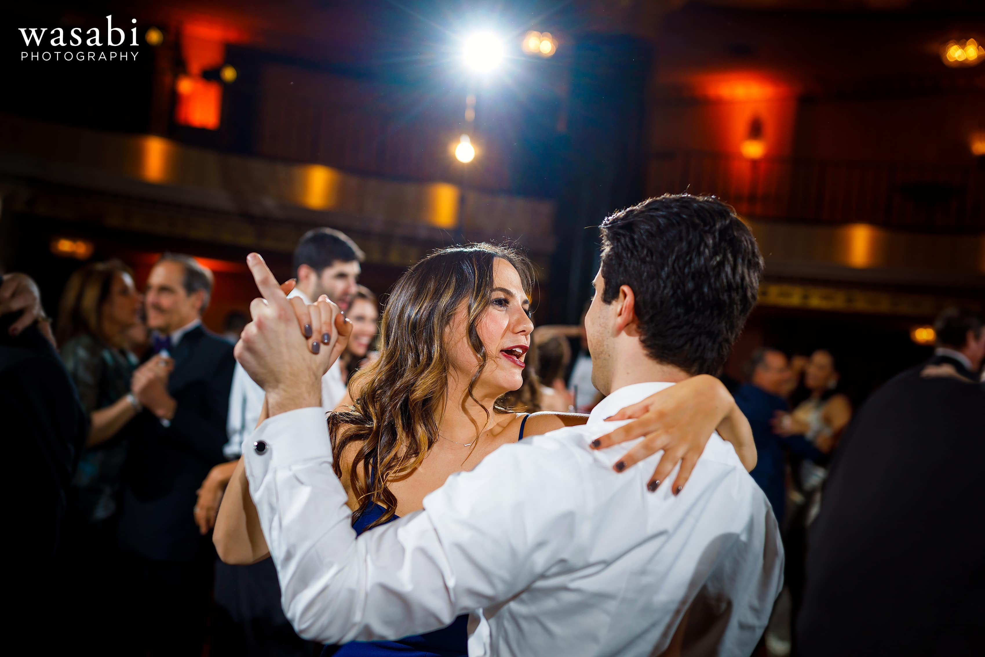 Guests dance during InterContinental Chicago Magnificent Mile Hotel wedding reception