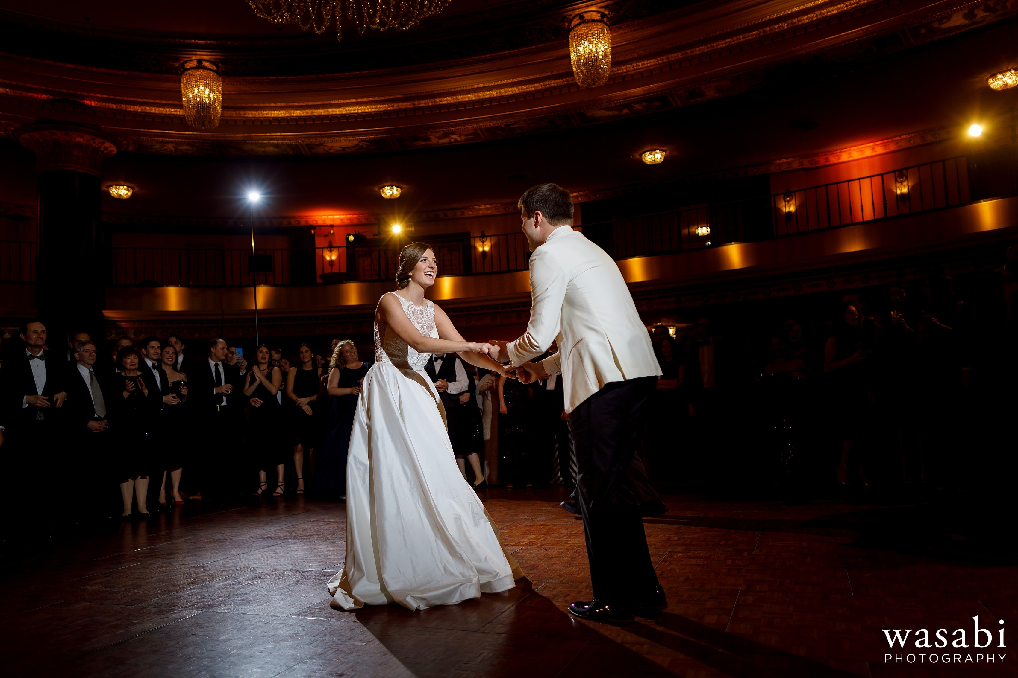 bride and groom's first dance during Jewish wedding reception at InterContinental Chicago Magnificent Mile Hotel