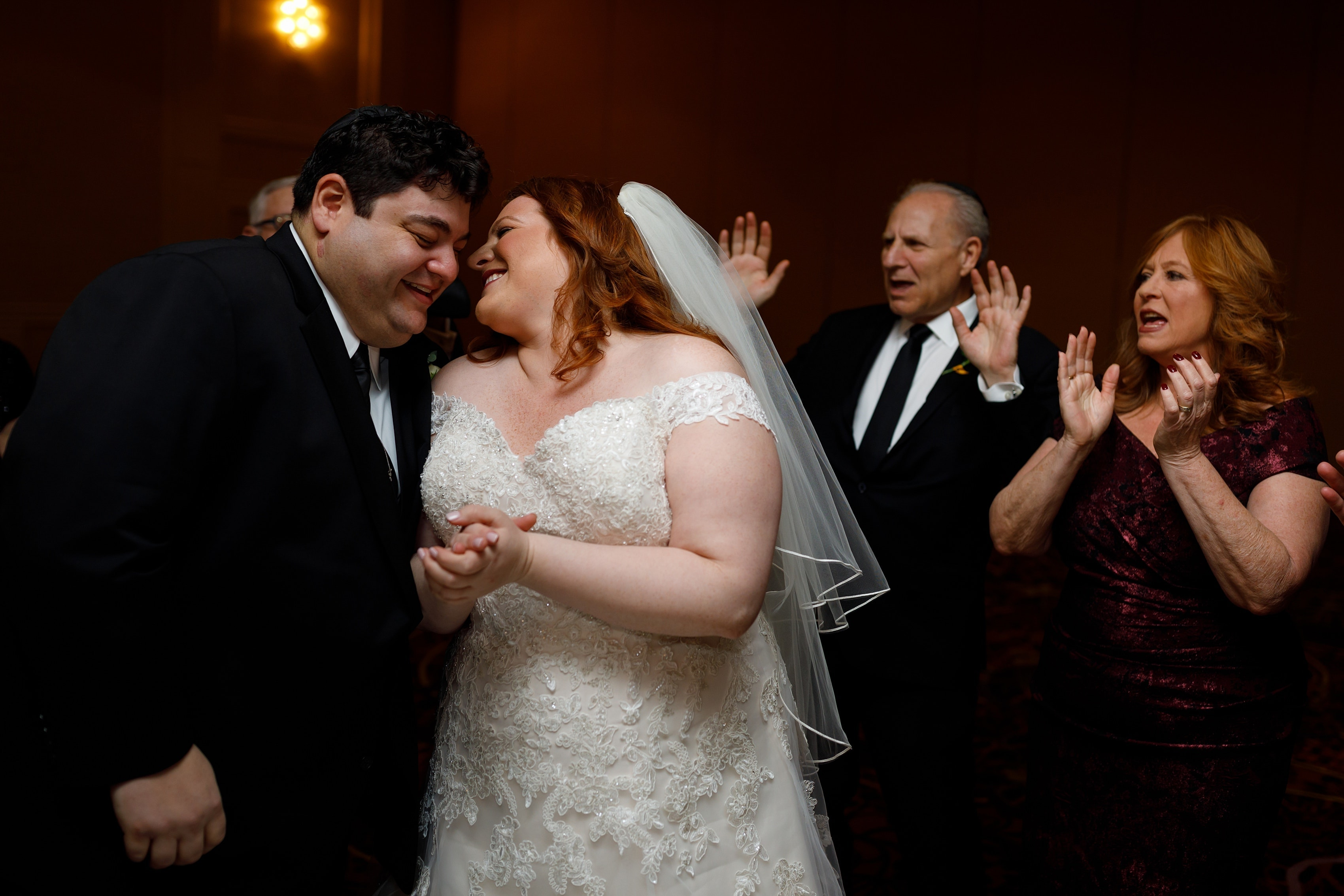 bride and groom at ketubah signing at Lincolnshire Marriott Resort