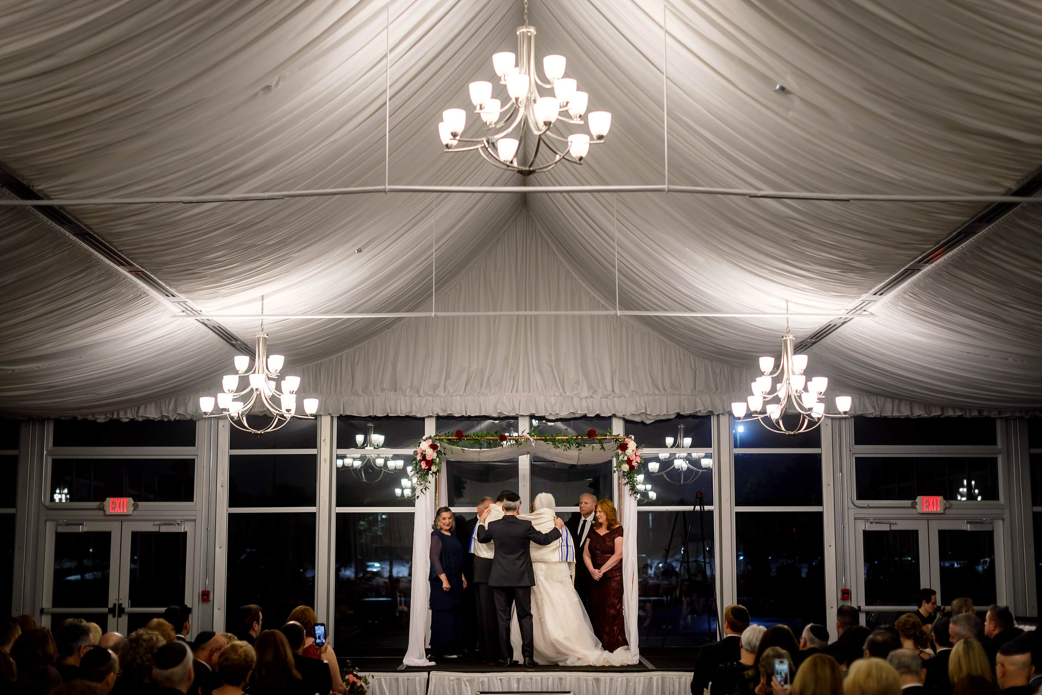 wide angle of tent room wedding ceremony at Lincolnshire Marriott Resort