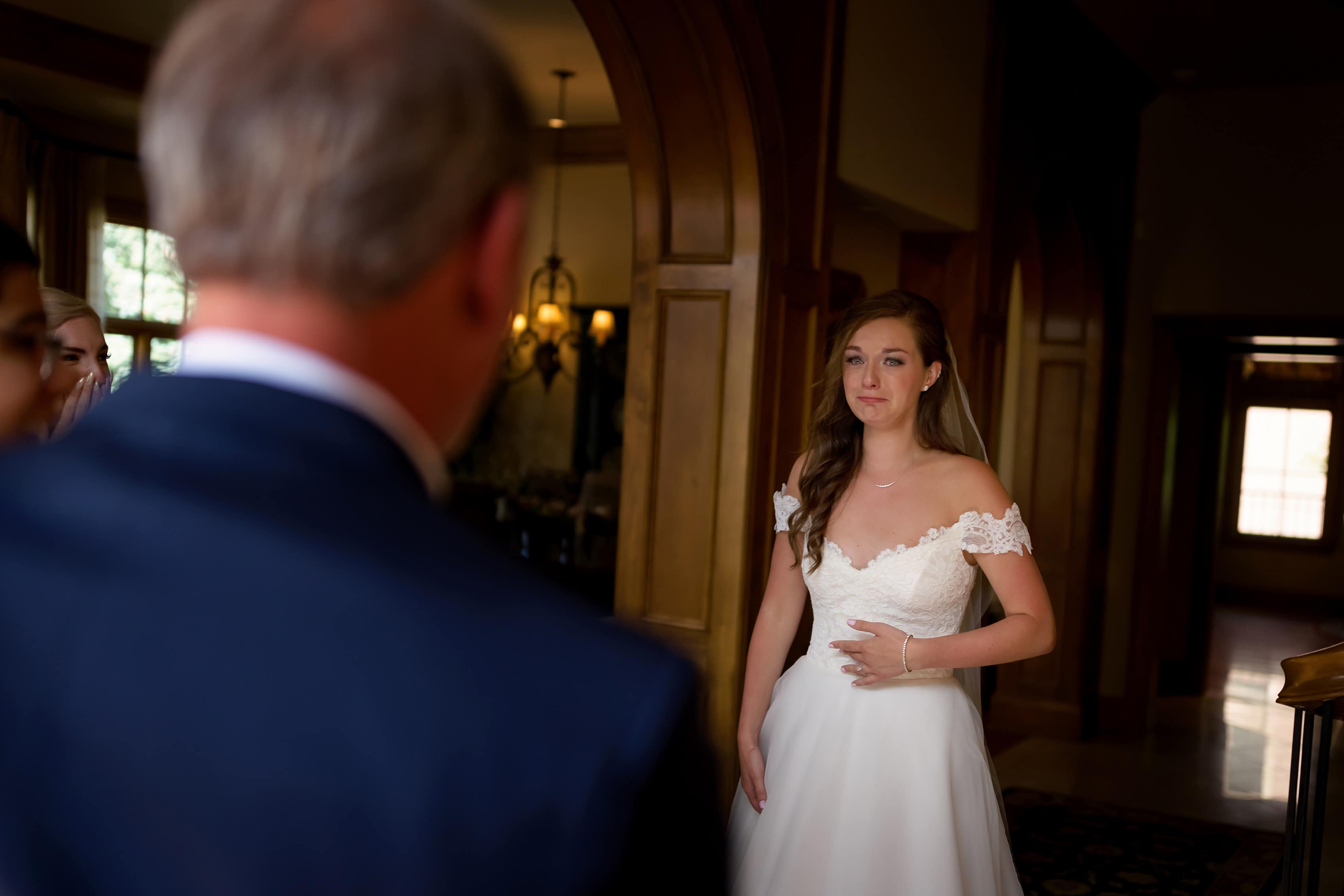 bride reacts to seeing her father on her wedding day
