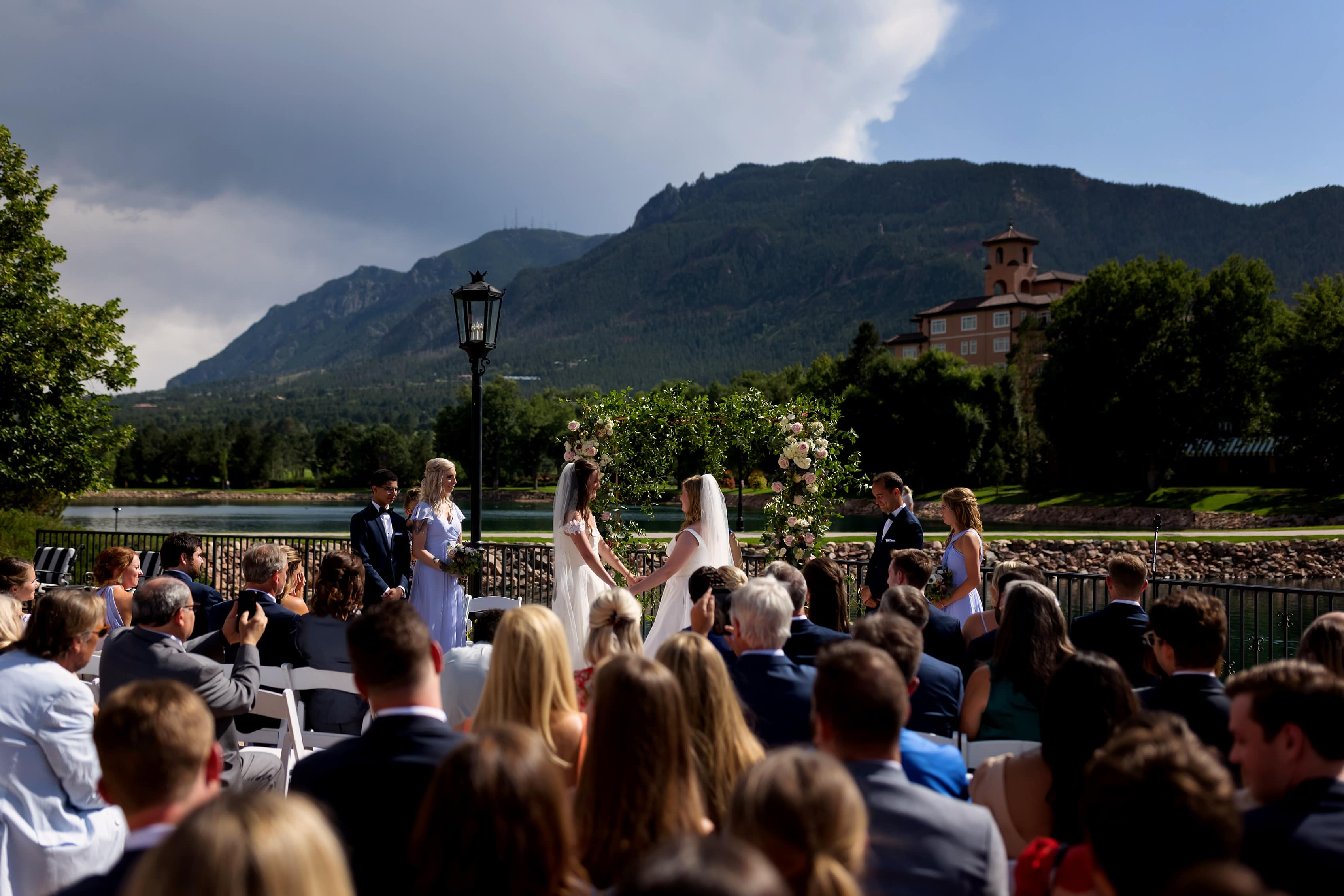 wedding ceremony with two brides at The Broadmoor in Colorado Springs, Colorado