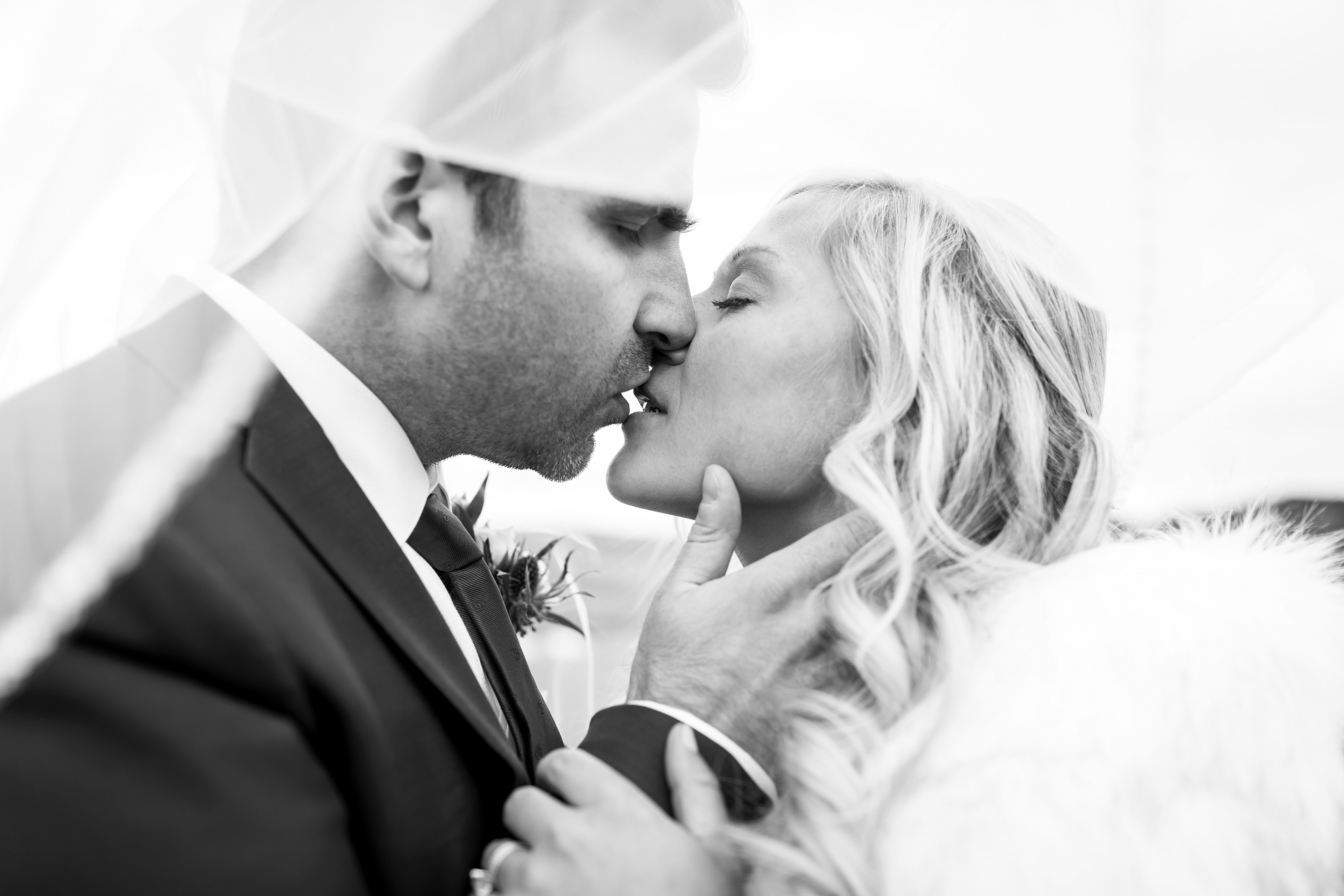 Black and white close up of bride and groom kissing under veil