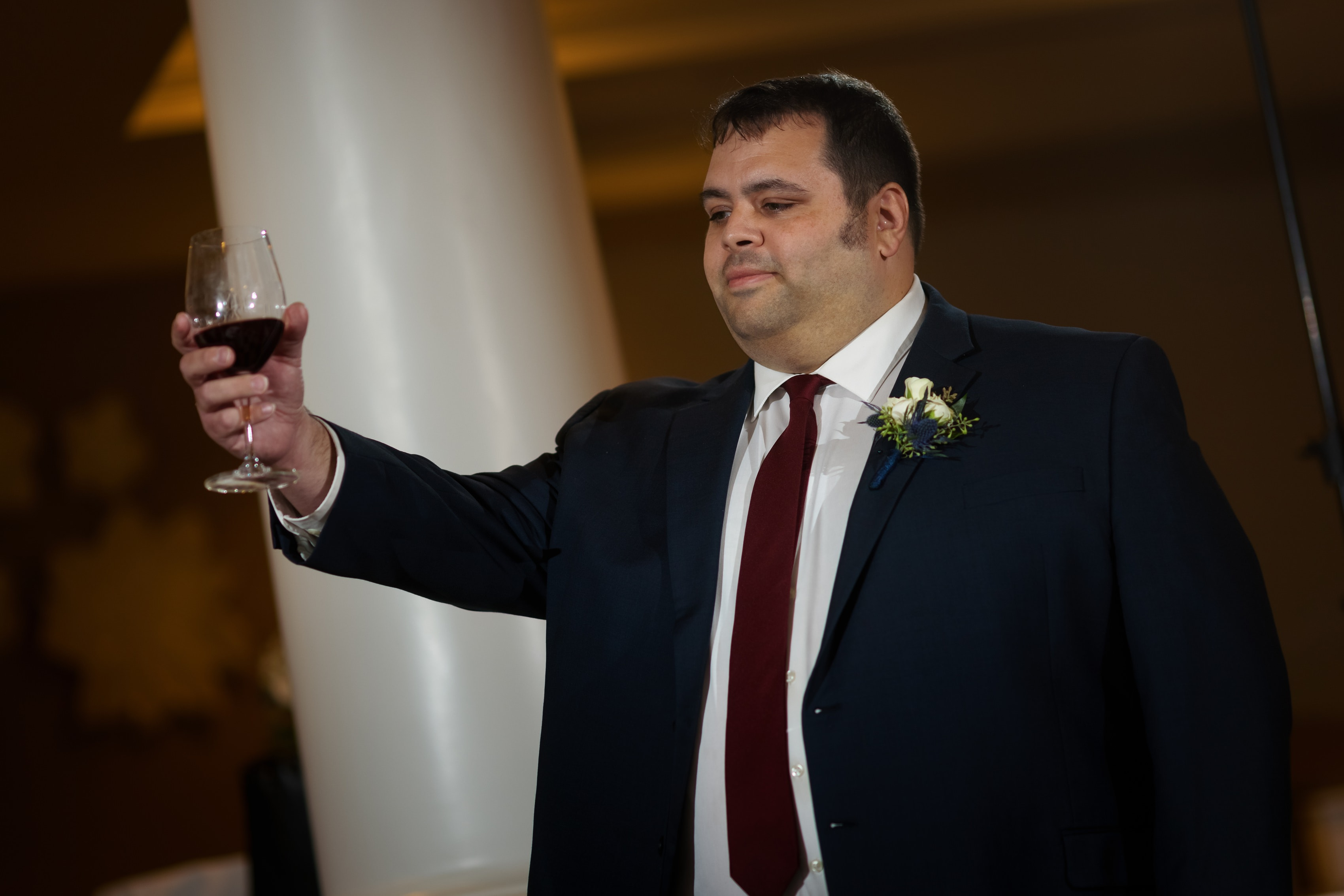 Best man gives toast during wedding reception at Bay Harbor Inn in Petoskey, Michigan