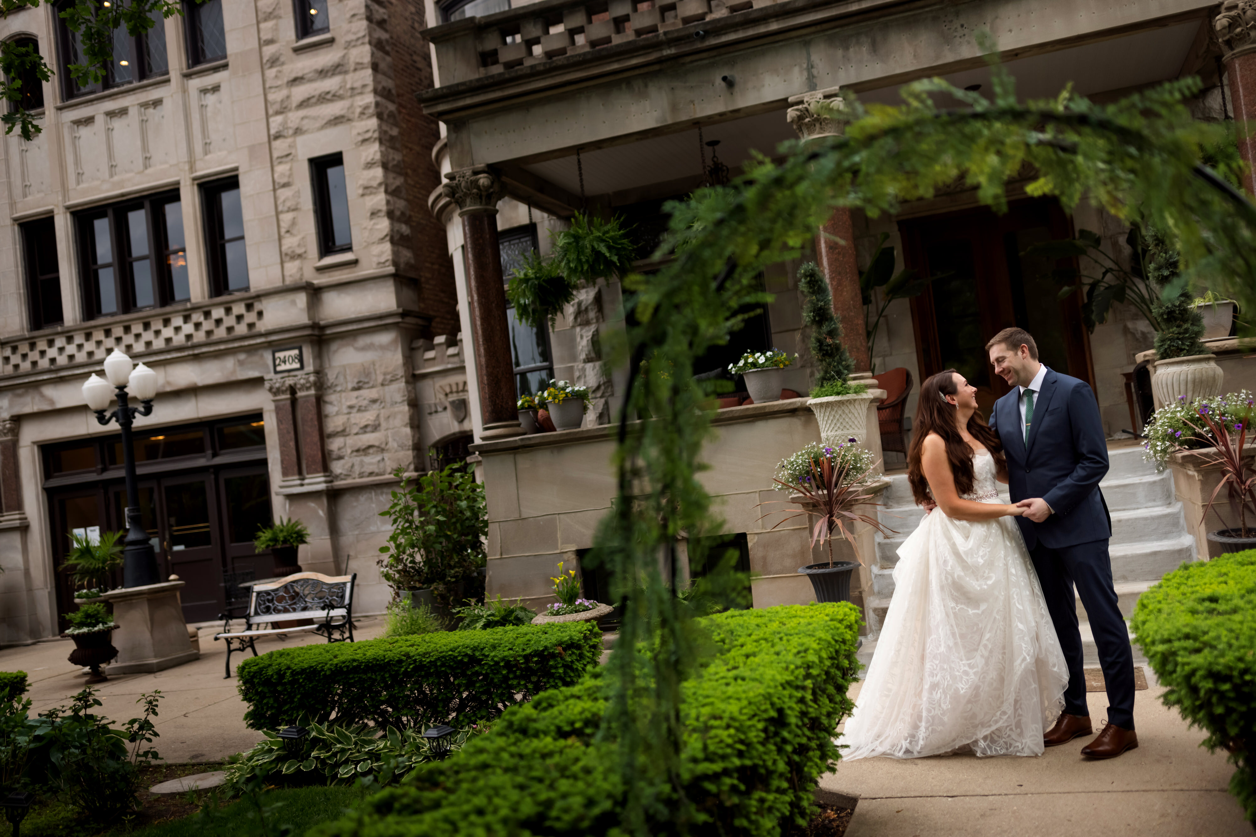 wedding portrait with bride and groom outside of Stan Mansion in Chicago