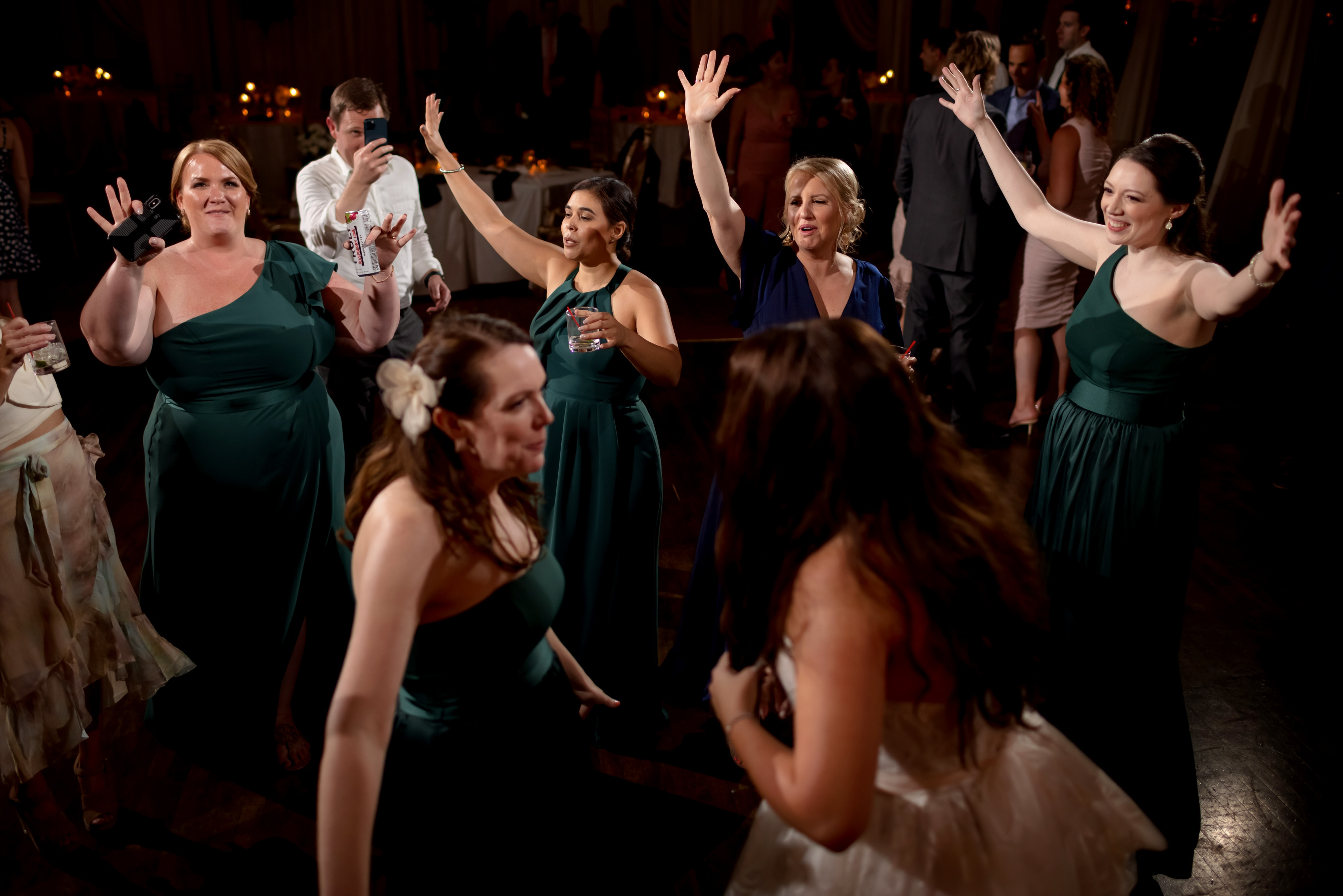 guests dance during wedding reception at Stan Mansion in Chicago
