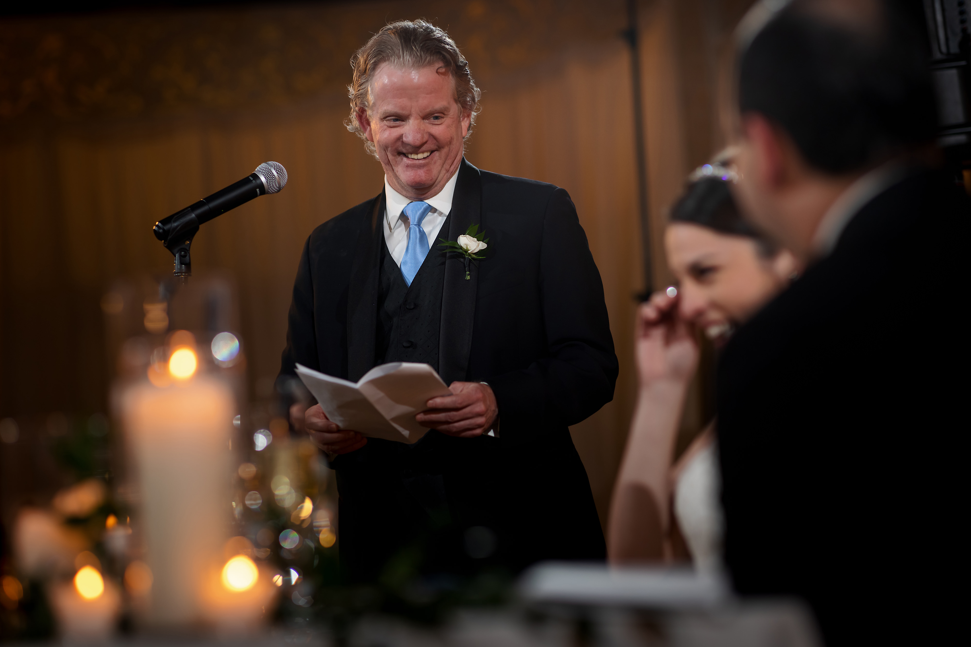 Father of the bride toast during wedding reception at the Rookery Building in Chicago