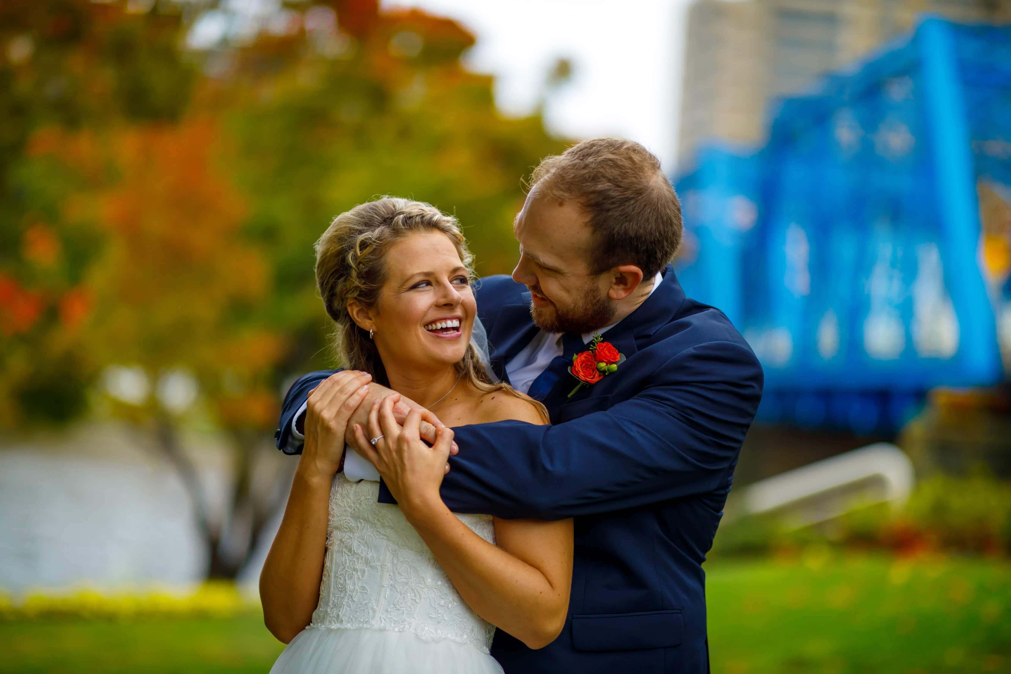 Grand Rapids Blue Bridge Wedding Photos: Christina & Cody