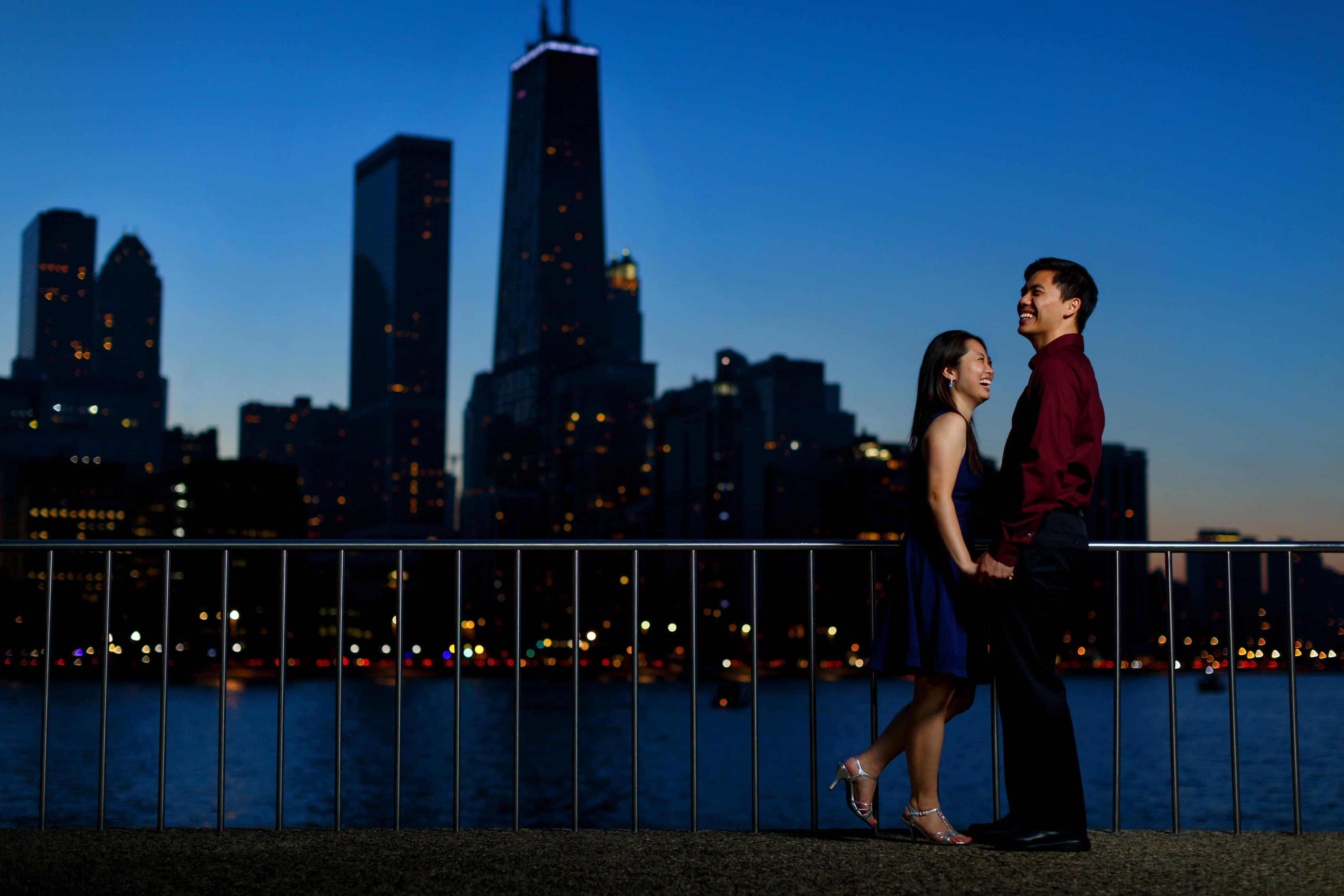 Chicago Riverwalk Engagement Photos: Christie & Garrett