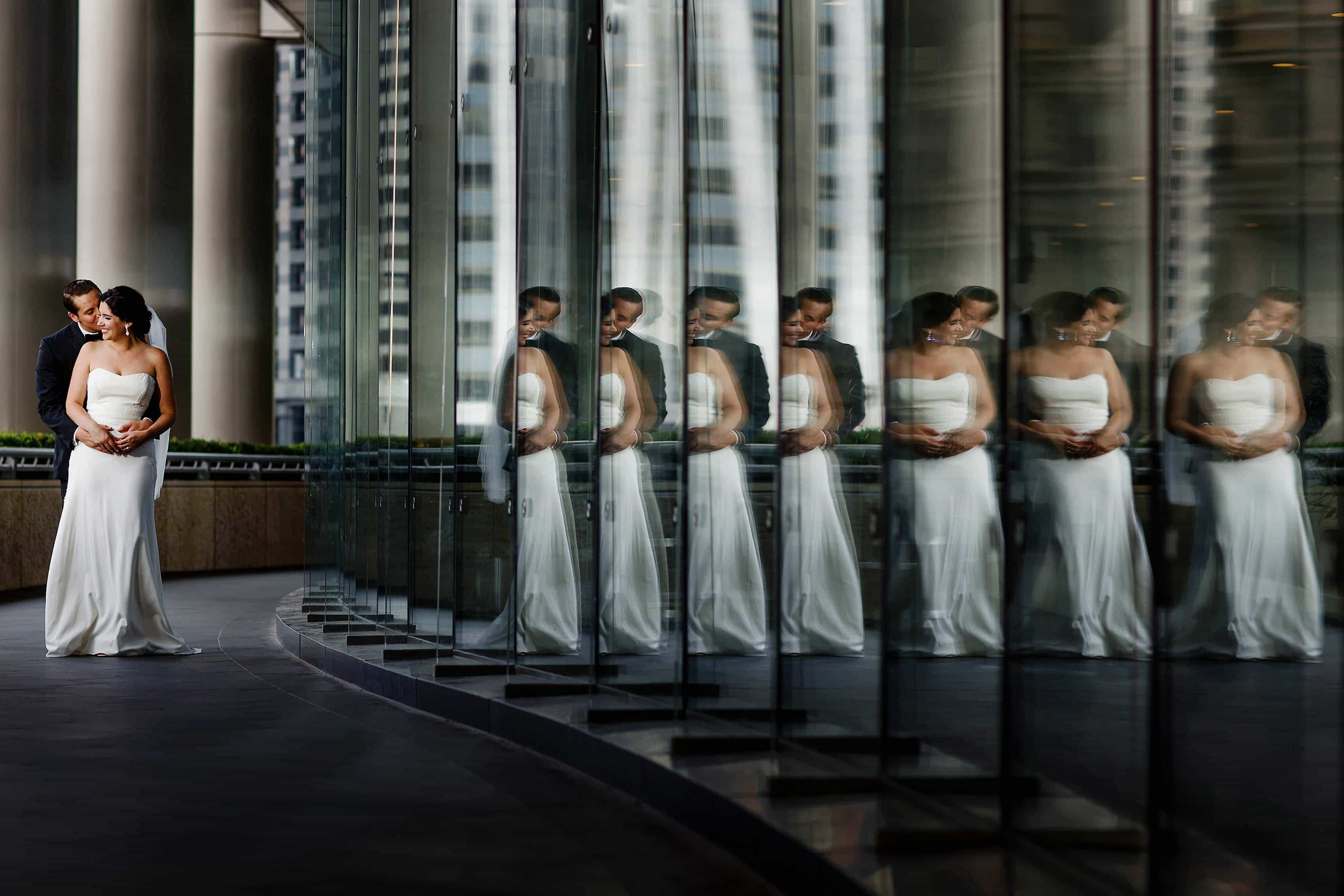 downtown-chicago-reflection-wedding-portrait